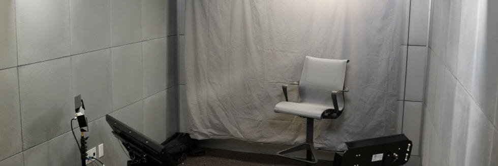 Image of a media studio with a green screen