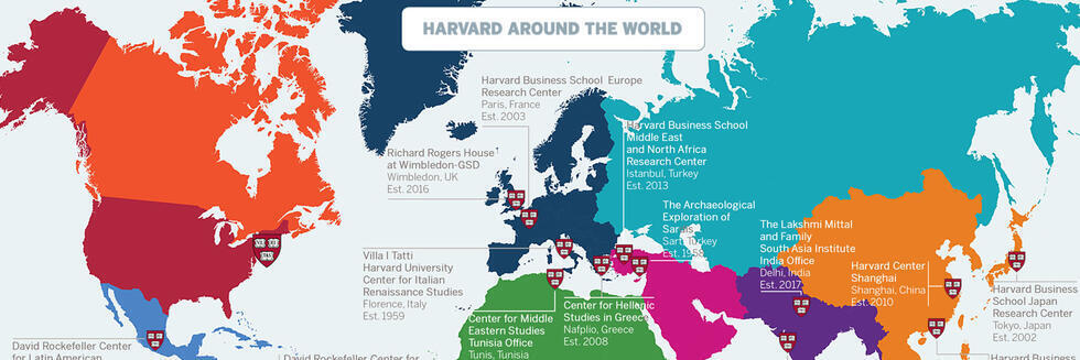 Map with infographics showing Harvard's global engagement in numbers of students and alumni, as well as the locations of its international centers.
