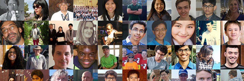 Collage of portraits of people who enroll in edX courses