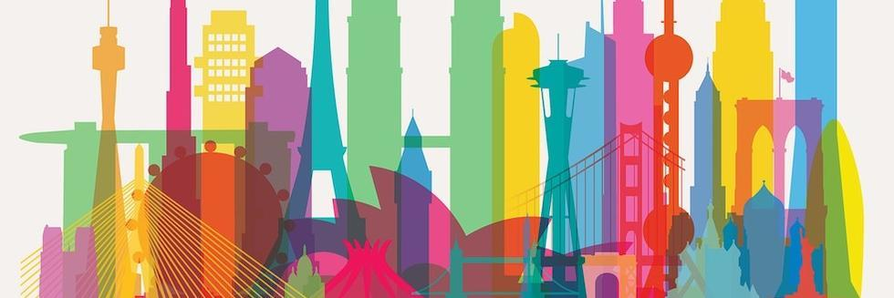 Colorful silhouettes of city buildings