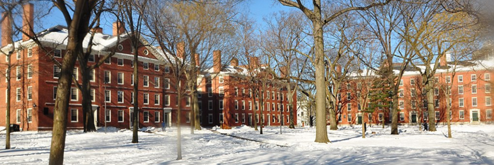 "photo of Harvard ""Old Yard"", looking northwest, covered in snow."