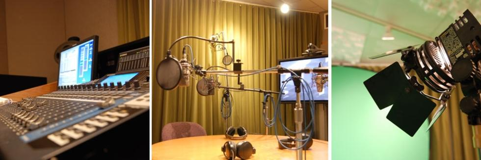 Recording console, studio with microphones, stage light
