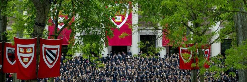 A crowd of graduates in academic regalia gather under trees and School flags.