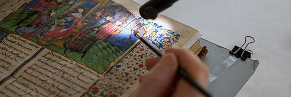 Illuminated manuscript under the microscope