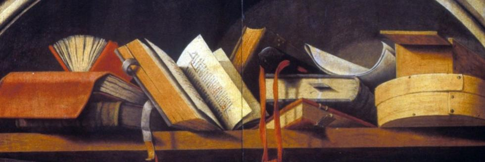 Still life with books in a niche, ca.1425-50