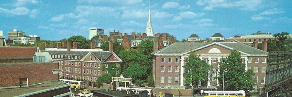 picture of Harvard Yard from Harvard Square JFK St from a 1970s-era postcard