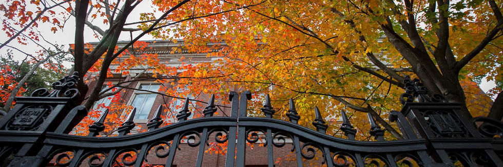 Harvard gate in front of building and trees with fall foliage