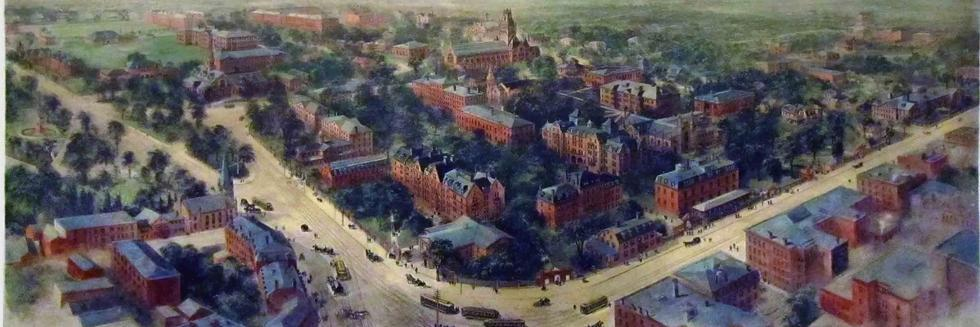 Cropped image of painting by Richard Rummell of Harvard Square