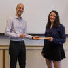 Edo Berger presented Leo Goldberg prizes for excellence in a senior thesis to graduating senior Danielle Frostig.