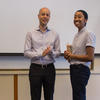Edo Berger presented Leo Goldman prizes for excellence in a senior thesis to graduating senior Eden Girma.