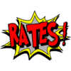 Comic-style image with the word Rates