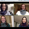 zoom call with Bok staff wearing matching knitted scarves