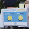 lemonade stand sign with different prices for men and women