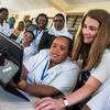 Melinda Gates with students