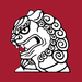 Line art showing the head of a Chinese lion, holding a wisdom pearl in its mouth, in black and white on a flat background of dark red.