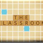 "Scrabble board with text ""The Classroom"" in scrabble tiles"